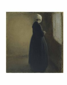 Vilhelm Hammershøi: An old lady standing by a window, 1885. The Hirschsprung Collection