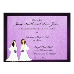 Two Brides Lesbian Wedding or Ceremony Invitations
