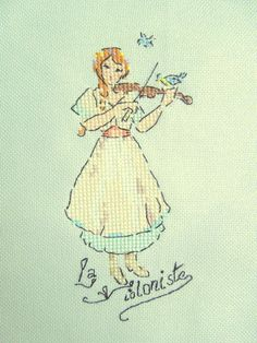 The violinist – French Needlework Kits, Cross Stitch, Embroidery, Sophie Digard – The French Needle