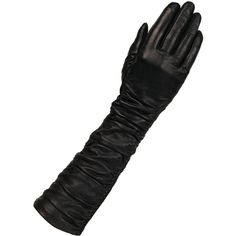 Women's Wilsons Leather Touchpoint Rouched Long Leather Glove w/... ($45) ❤ liked on Polyvore featuring accessories, gloves, winter, leather touchscreen gloves, wilson leather gloves, stretch gloves, long leather gloves and stretch leather gloves