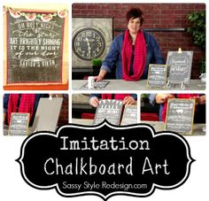 Imitation chalkboard art by Sassy Style Redesign on My Craft Channel.com  #chalkboard #faux