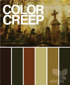 """color creep""  ***Ha,ha,ha... This is too funny... These are the EXACT colors in my house.  I had no idea they would be called the ""Color Creep"" palette but it goes WONDERFULLY with my little ""Dark Side"" and my self-appointed title of ""Queen of Halloween""  :)"