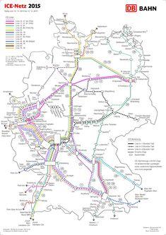 railway map on high speed trains in germany ice netz deutschland 2015