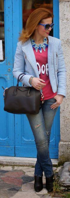 Zara Baby Blue Faux Leather Jacket