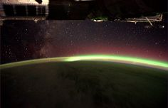 The Milky Way and Southern Lights from space station.  Credit to: ESA/NASA