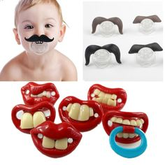 Funny Lips and Mustache Binky