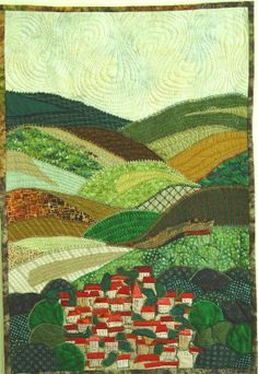 Small town w/patchwork hills art quilt Patchwork Quilting, Applique Quilts, Quilting Fabric, Quilting Projects, Quilting Designs, Landscape Art Quilts, Landscapes, Map Quilt, Art Carte