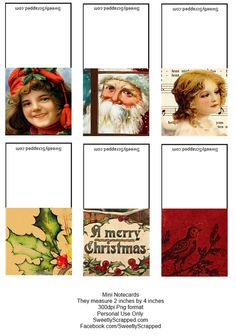 Free printable christmas mini cards