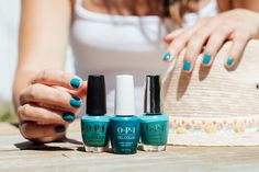 A deep, vibrant teal that can be dressed up or down. Not to mention the crème coverage that adds depth and shine! Shade: #IsThatASpearInYourPocket? #ColorIsTheAnswer #OPIFiji #HealingRainbow #OPIObsessed #OPINailLacquer #OPIInfiniteShine #OPIGelColor  #GreenNails #TealNails #TrendyNails #NailsOfInstagram Bright Nail Polish, Green Nail Polish, Opi Nail Polish, Opi Nails, Nail Polish Colors, Teal Nails, Green Nails, Interview Nails, Long Lasting Nail Polish