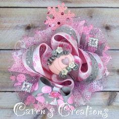 Pink, princess, carriage, hair bow, stacked boutique bow, over the top bow