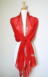 Emellished scarves and shawls have been a fashion staple for many years, and a gorgeous red scarf is a must-have this season. $24.99 Use code PINIT at checkout for 10% off your entire order.
