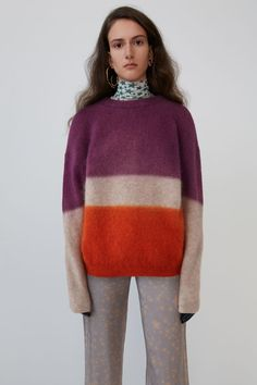 Acne Studios purple/pink/orange sweater is knitted with a blend of soft wool and mohair and features a gradient effect. Tommy Ton, Miroslava Duma, Acne Studios, Girls Sweaters, Sweaters For Women, Stockholm Street Style, Paris Street, Orange Sweaters, Milan Fashion Weeks