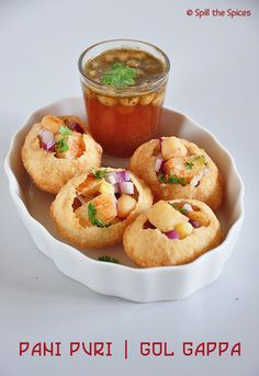 Pani puri is one of the most popular street foods of India. It is known by different names in different parts of India, like in North. Pani Puri Recipe, Chaat Recipe, Puri Recipes, Snack Recipes, Cooking Recipes, Cooking Pork, Vegetarian Recipes, Dessert Recipes, Desserts