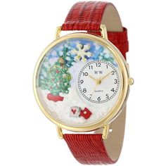 Whimsical Watches Christmas Tree Red Leather Watch ($38) ❤ liked on Polyvore featuring jewelry, watches, leather watches, red watches, red wrist watch, christmas jewelry and snowflake jewelry