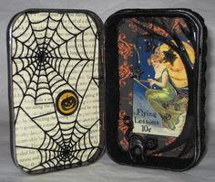 Trick or Treat Altoid Tin Gallery - ORGANIZED CRAFT SWAPS - The trick was to decorate an Altoid Tin, inside and out, and fill it with Halloween tricks or treats for your partner. Halloween Shadow Box, Halloween Crafts, Halloween Decorations, Altered Tins, Altered Art, Adornos Halloween, Shadow Box Art, Matchbox Art, Tin Art