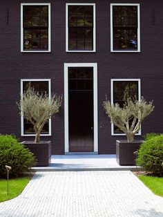 MAKING AN ENTRANCE: Fifteen Doorways That Wow  |  A dramatic black facade designed by Belgium architecture firm, Oscar V.