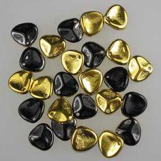Czech glass rose petals in Jet Amber, 8mm x 7mm. Petal-shaped drop beads in part opaque black, part metallic gold.  UK seller.
