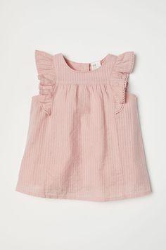 Bluzka w tkane paski - Pudroworóżowy - Dziecko | H&M PL 1
