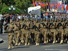 Armenian paratroopers marching through Yerevan's Republic Square in the 2011 Armenian Independence Day Parade.