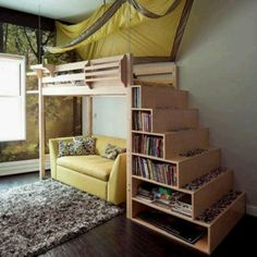 """Love the magazine rack and """"end table"""" on this bed."""