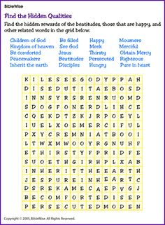 Find a Word on the Beatitudes for Older Children - Kids Korner - BibleWise