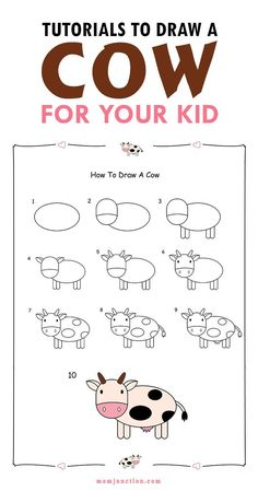 2 Easy Tutorials To Draw A Cow For Kids