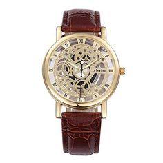 harwish Unisex Mann Damen-Armbanduhr Skelett Quarz Braun - http://uhr.haus/harwish/harwish-unisex-mann-damen-armbanduhr-skelett