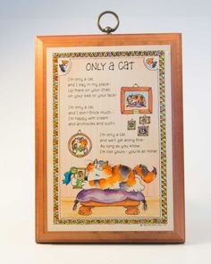 """Cat kitten Hallmark wooden decorative hanging plaque picture """"Only a Cat""""  7""""x5"""""""