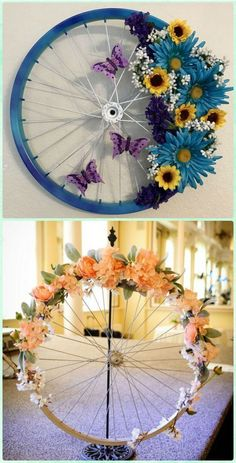 DIY Bicycle Wheel Wreath - DIY Ways to Recycle Bike Rims mehr zum Selbermachen a. DIY Bicycle Wheel Wreath - DIY Ways to Recycle Bike Rims mehr zum Selbermachen auf Interessante-ding. ideas for the garden Recycled Crafts, Diy And Crafts, Arts And Crafts, Recycled Garden, Recycled Home Decor, Creative Crafts, Diy Crafts Spring, Diy Creative Ideas, Easy Crafts