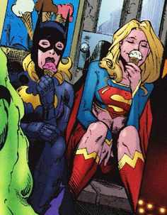 Batgirl & Supergirl eating ice cream. Sometimes you just need to enjoy the little things.