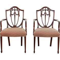 Pair of Kindel Winterthur Signed Shield Back Dining or Occasional Chairs w/ Arms