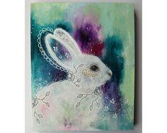 folk art Original Bunny Rabbit painting by thesecrethermit on Etsy