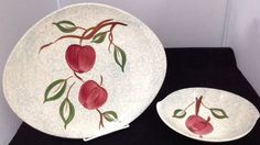 "Blue Ridge Southern Potteries ""Gray Apple"" Skyline 12"" Platter & Cereal Bowl"