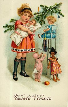 The colorful antique toys pictured on these free vintage Christmas cards come from the era before toys made noise and needed batteries. Vintage Christmas Images, Old Christmas, Antique Christmas, Christmas Pictures, Images Noêl Vintages, Creation Photo, Doll Quilt, Vintage Artwork, Vintage Greeting Cards