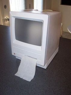 Shawn Morton turns an old Macintosh SE into an Apple-powered, wireless, portable toilet paper dispenser -- the iWipe. - Page 11 Tissue Box Covers, Tissue Boxes, Toilet Paper Dispenser, Red Led Lights, Portable Toilet, Old Computers, Presents For Her, Gadgets And Gizmos, Old Tv