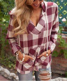 Stylish Hooded Long Sleeve Gingham Slit Women's HoodieSweatshirts & Hoodies | RoseGal.com