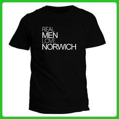 Idakoos Real men love Norwich - US Cities - T-Shirt - Cities countries flags shirts (*Amazon Partner-Link)