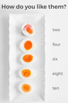 Perfect Boiled Eggs  Amend: set time at least a minute before to get into cold water. (My 6's were more like 8's).