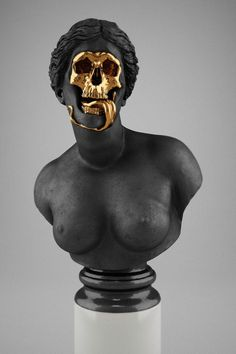 malventurado:  Hedi Xandt, The God Of The Grove, 2013. gold-plated brass, polymer, distressed black finish, marble.