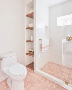Riad Tile - Cement Tile - Nola Pink - Riad Tile – Cement Tile – Nola Pink So in love 🥰 with this pink and white bathroom from Borden Interiors. They used our Nola Pink cement tiles on the floor of this bathroom. Gold Bathroom, Modern Bathroom, Small Bathroom, Master Bathroom, Pink Bathrooms, Pink Bathroom Decor, White Bathroom Tiles, Bathroom Ideas White, Upstairs Bathrooms