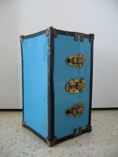 Vintage Blue Metal Small Steamer Trunk