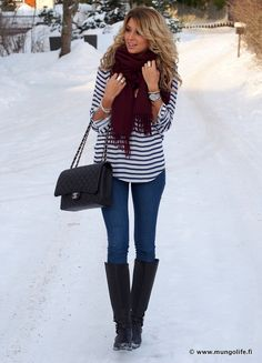striped top, scarf, bag, boots