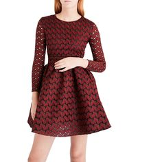 This Maje Royani Bonded Lace Dress is an easy-to-wear party outfit but also a day-to-evening look. The fit & flare silhouette with skater-style skirt has a girly effect yet the lace which is bonded to a basketweave makes it chic and timeless. It exudes Parisian chic attitude and a flirty spirit.    https://www.evachic.com/product/maje-royani-bonded-lace-dress/