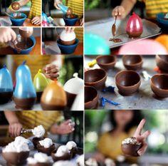 potes de chocolate para postre - modelados con globos
