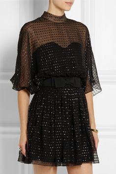 Saint Laurent|Mini-robe en mousseline de soie à pois métallisés|NET-A-PORTER.COM