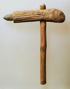 Stone adze with antler handle. Neolithic Period.  Volos Museum M 2969. Hellenic Ministry of Culture/ARF.    Theocharis, D.R., Neolithiki Ellas, National Bank of Greece,  Athens 1973, fig. 214.    © Hellenic Ministry of Culture