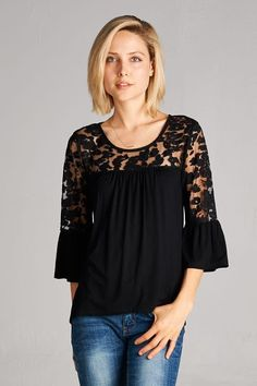 Bell Sleeve Black Top