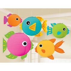 These round fish paper lanterns are a fantastic party decoration for luaus and tropical themed parties. Easy to assemble and hang, each lantern has a metal fram