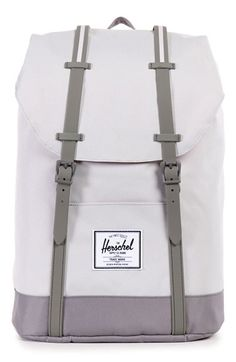 DETAILS Featuring a classic cinch top, the Herschel Retreat™ backpack is a pared down version of popular Little America silhouette. Signature striped fabric liner Padded and fleece lined laptop sl Herschel Supply Co, Herschel Backpack, Laptop Backpack, Backpack Bags, Grey Backpacks, Cute School Supplies, Cute Bags, E Design, School Bags