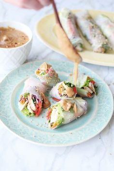 Vetnamese chicken spring rolls with spicy peanut sauce